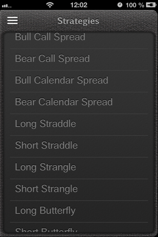 Screenshot of iOptioneer list of strategies